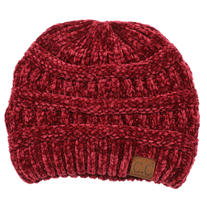 Winter CC Beanie 034c 82 soft chenille burgundy