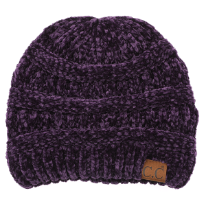 Winter CC Beanie 104h 82 soft chenille dark purple
