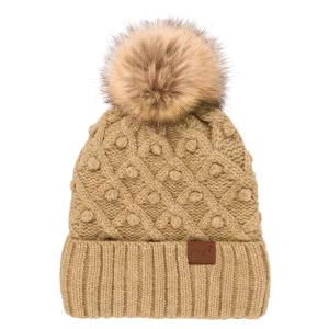 Winter CC Beanie 299b bobble knit fur pom taupe mix