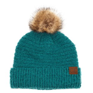 Winter CC Beanie 332a 82 solid boucle yarn faux fur pom forest green