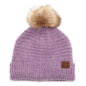 Winter CC Beanie 335a 82 solid boucle yarn faux fur pom grapeade