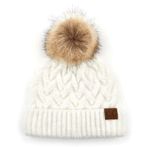 Winter CC Beanie 087d cable knit pom ivory