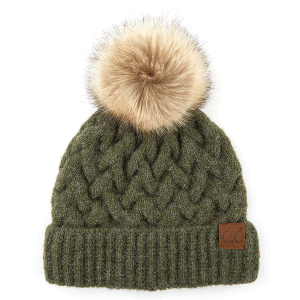 Winter CC Beanie 343a cable knit pom olive