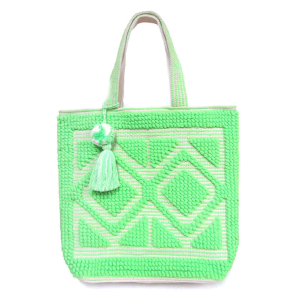 Mika HB268 woven tassel tote lime