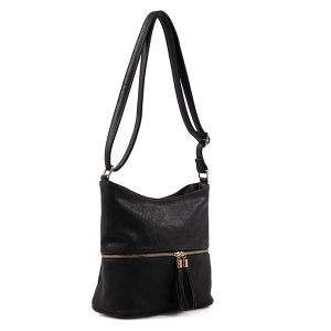 Deluxity HB 3016 zipper crossbody tassel black