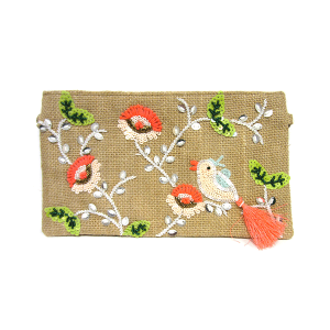 Mika HB581 jute cosmetic pouch sequin bird pink