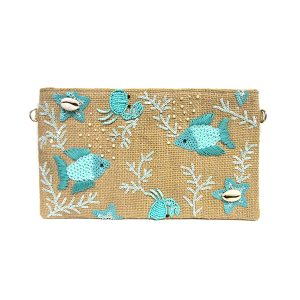 Mika HB582 jute cosmetic pouch sequin sea theme blue