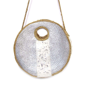 Mika HB676 round woven natural fur tote silver