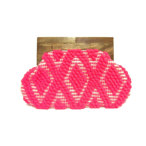 Mika HB808 geometric woven wooden clutch coral pink