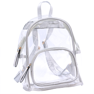 Wholesale Clear See-Through Fashion Backpack in Silver