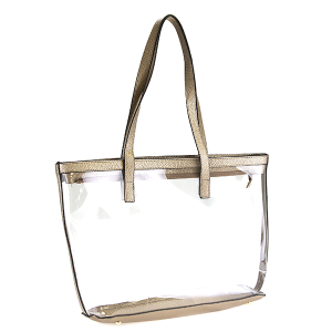 Nima HBG 102752 transparent clear tote pewter gold