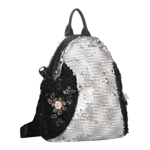 Nima HBG102795 floral sequin backpack white