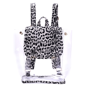 Nima HBG103280 transparent leopard backpack black