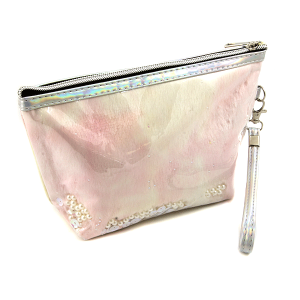 Nima HM00472 cosmetic pouch pearl sequin fur pink