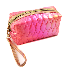 Nima HM00473 cosmetic pouch iridescent quilted stitch fuchsia