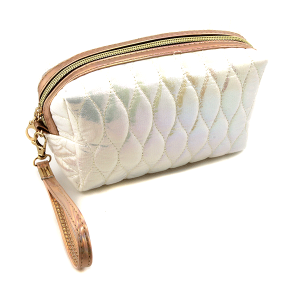 Nima HM00473 cosmetic pouch iridescent quilted stitch white