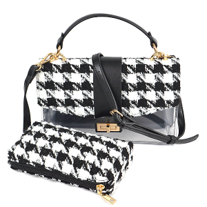 3AM HPC3109 2in1 crossbody clutch houndstooth black