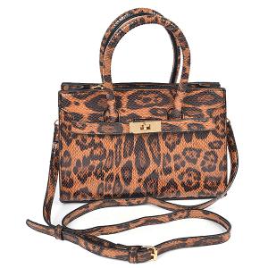 3AM HPC3854 leopard print leatherette satchel brown