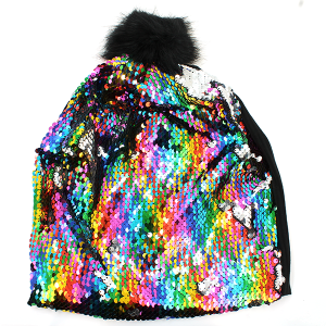 Winter Cap 014d sequin front multi-color