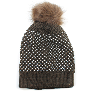 Winter Cap 002g 63 Sophia Collection Rhinestone pom pom beanie brown