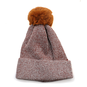 Winter Cap 052c sparkles weave pom pom orange brown