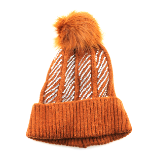 Winter Cap 005e 63 Sophia Collection Rhinestone pom pom beanie dark orange