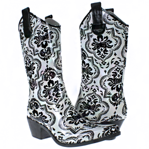 HT 8468 western rain boots floral damask black white SIZE 5