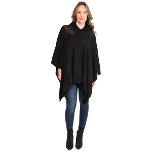 Poncho 458a 07 Janice Apparel knitted solid hood black