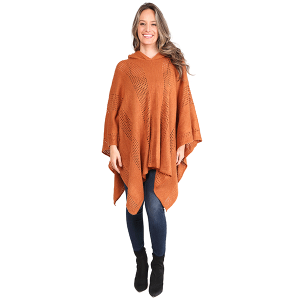 Poncho 474c 07 Janice Apparel knitted solid hood rust