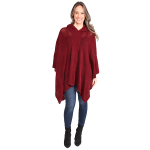 Poncho 502a 07 Janice Apparel knitted solid hood wine