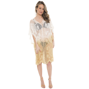 Shawl 226b 07 Janice Apparel ombre tribal cover up beige