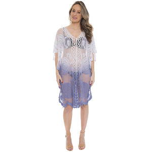Shawl 697b 07 Janice Apparel ombre tribal cover up blue