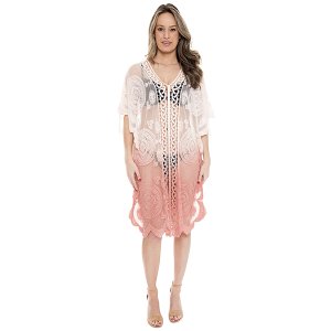 Shawl 738b 07 Janice Apparel ombre tribal cover up pink