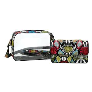 Handbag Republic JYV-0313 MT3 2in1 transparent shoulder bag multi snake print