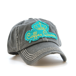 Cap 158e 30 KBEthos coffee queen patch distressed hat dark gray