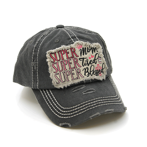 Cap 381a 30 KBEthos distressed cap super mom tired blessed gray