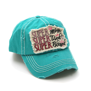 Cap 383a 30 KBEthos distressed cap super mom tired blessed turquoise
