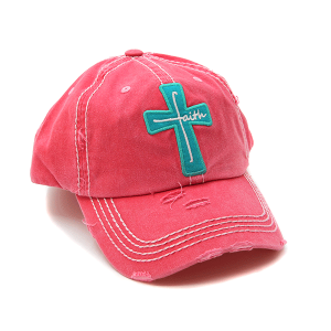 Cap 379a 30 KBEthos distressed cap faith cross pink