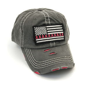 Cap 400a 30 KBEthos distressed ribbon flag patch charcoal