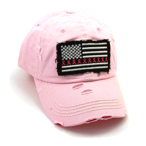 Cap 399a 30 KBEthos distressed ribbon flag patch pink