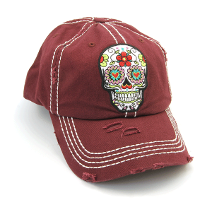 Cap 418a 30 KBEthos distressed floral sugar skull wine