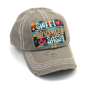 Cap 424a 30 KBEthos distressed Sweet Southern & Sassy light gray
