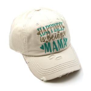 Cap 319a 30 KBEthos distressed cap happiness is being a mama beige