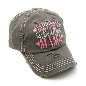Cap 321a 30 KBEthos distressed cap happiness is being a mama charcoal gray