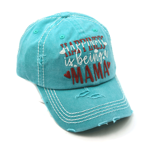 Cap 318a 30 KBEthos distressed cap happiness is being a mama turquoise