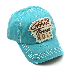 Cap 316a 30 KBEthos distressed cap let the good times roll turquoise