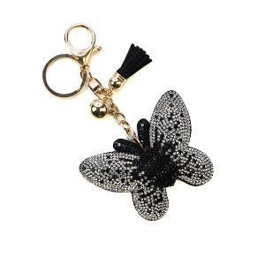 Keychain 086d 34 rhinestone butterfly black