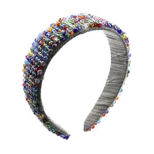 Headband 076a 52 Jennifer & Co multi color beads
