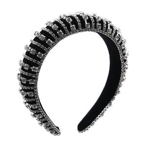 Headband 030a 52 Jennifer & Co rhinestone black clear