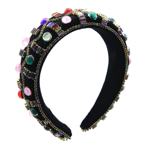 Headband 045a 52 Jennifer & Co multi crystal stone accents multi